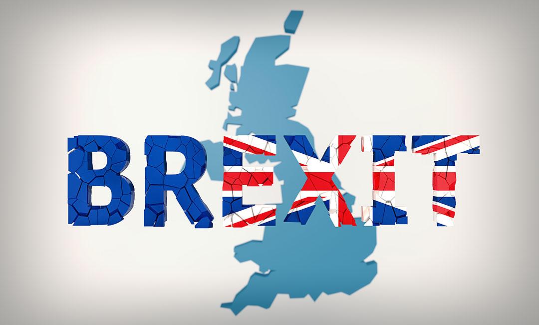 Carte de l'angleterre avec le mot Brexit par-dessus